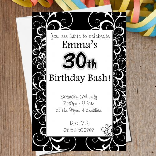 10 Personalised Elegant Black & White Swirls Birthday Party Invitations N162